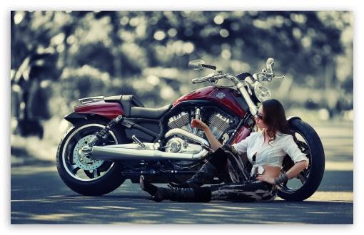 Girl Motorcycle HD wallpaper for Standard 43 Fullscreen UXGA XGA SVGA 510x330