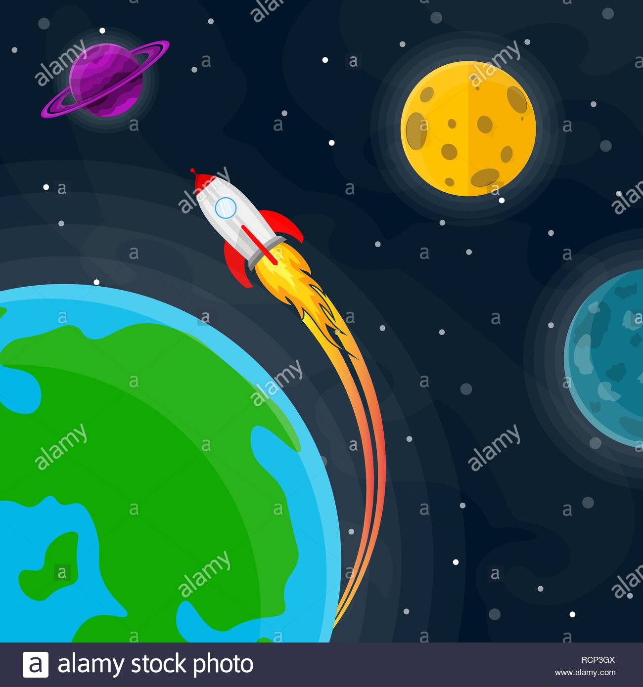 Space pattern with planets stars and rocket Vector illustration 1300x1390