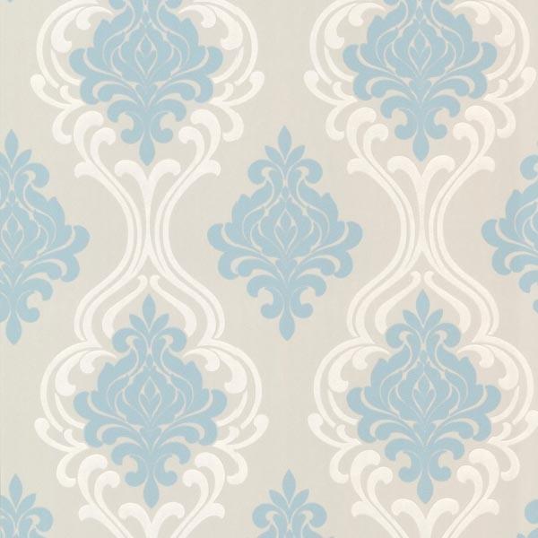 Indiana Light Blue Damask Wallpaper Swatch contemporary wallpaper 600x600