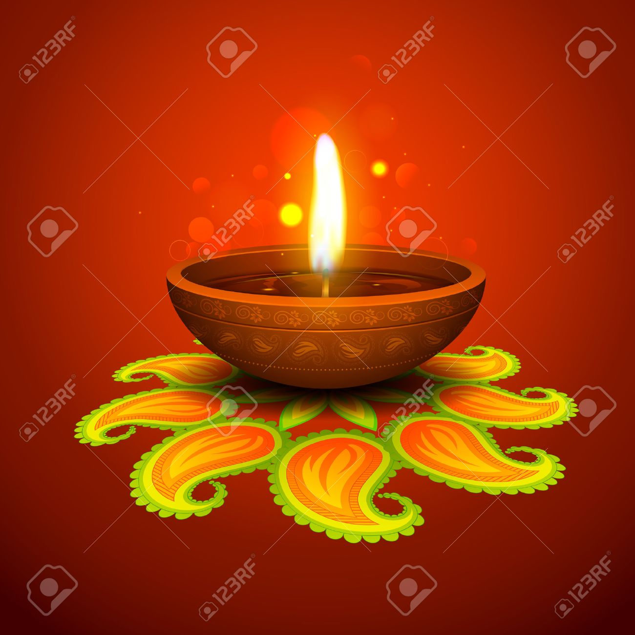Illustration Of Burning Diya On Diwali Holiday Background Royalty 1300x1300