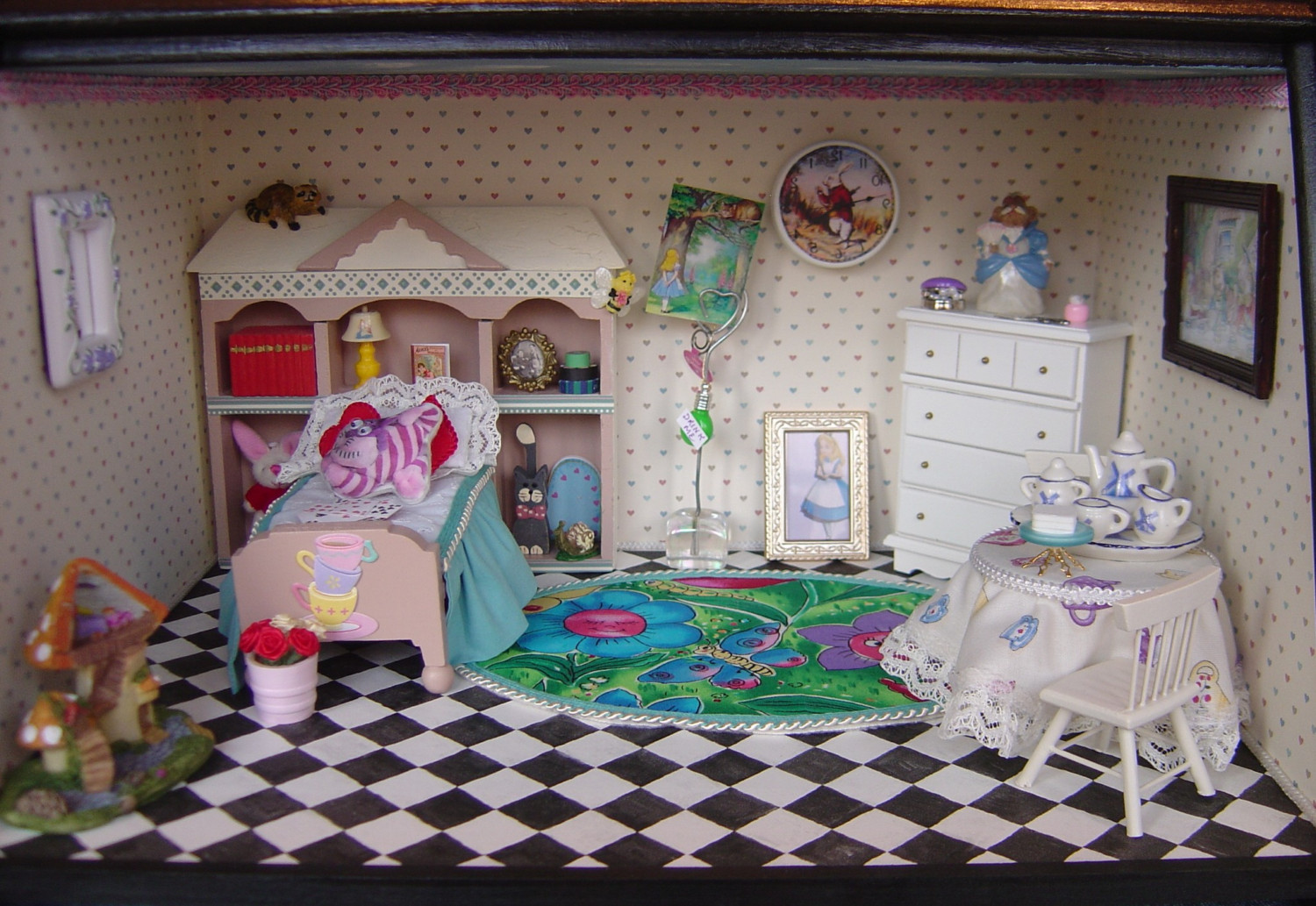 Alice In Wonderland themed bedroom room box by MyMiniWorld on Etsy 1500x1033
