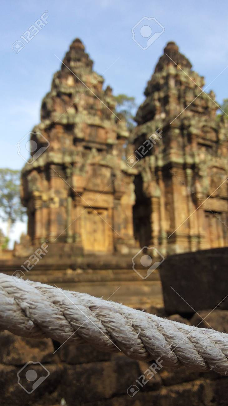 Rope Surrounding Banteay Srei Temple In Cambodia Background Stock 731x1300