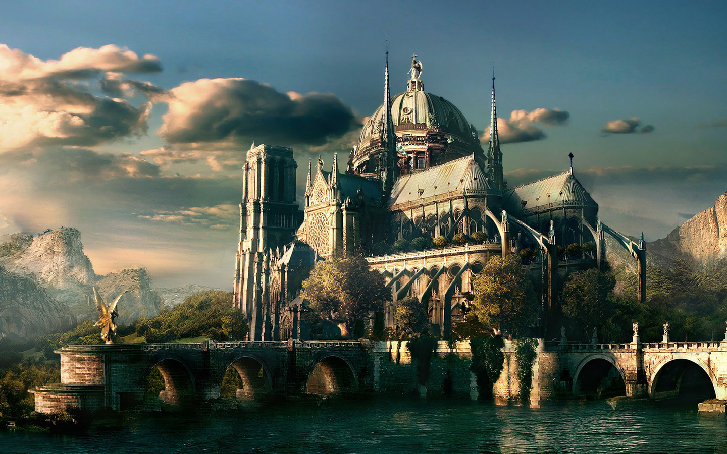page size 1440x900 desktop wallpaper of fantasy castle 1440x900