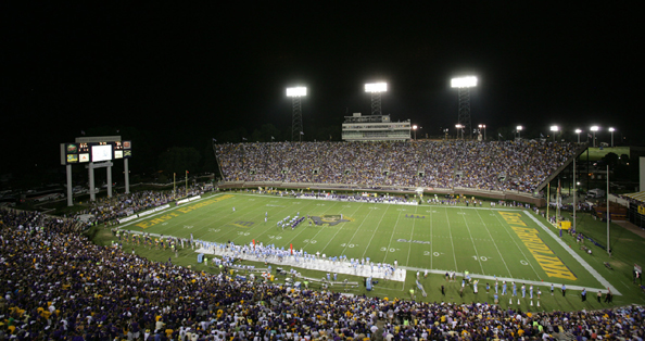 ECU defeats UNC Night Game East Carolina University Stadium Print 594x314