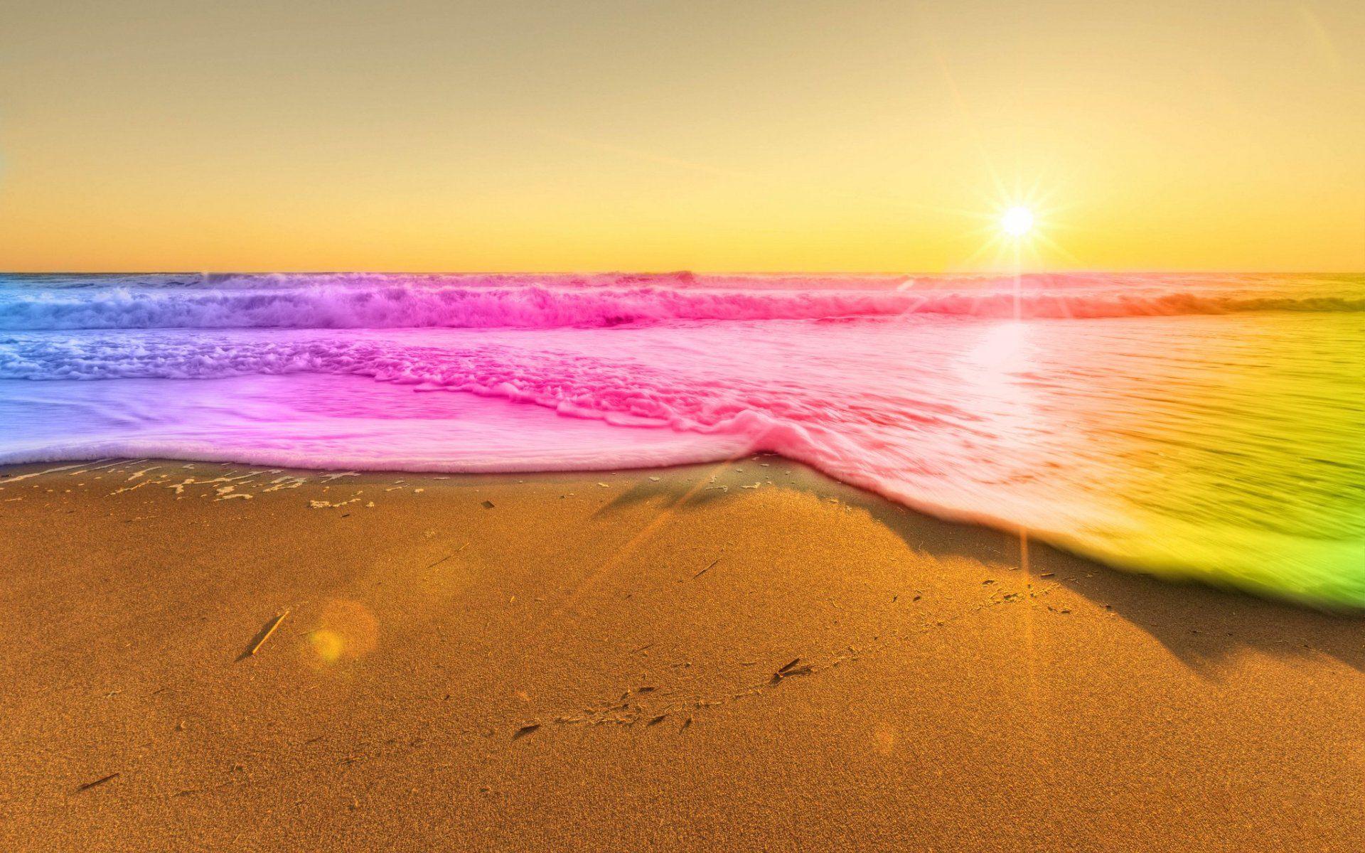 Rainbow Sand Beaches Colors of the Sands of time Rainbow beach 1920x1200