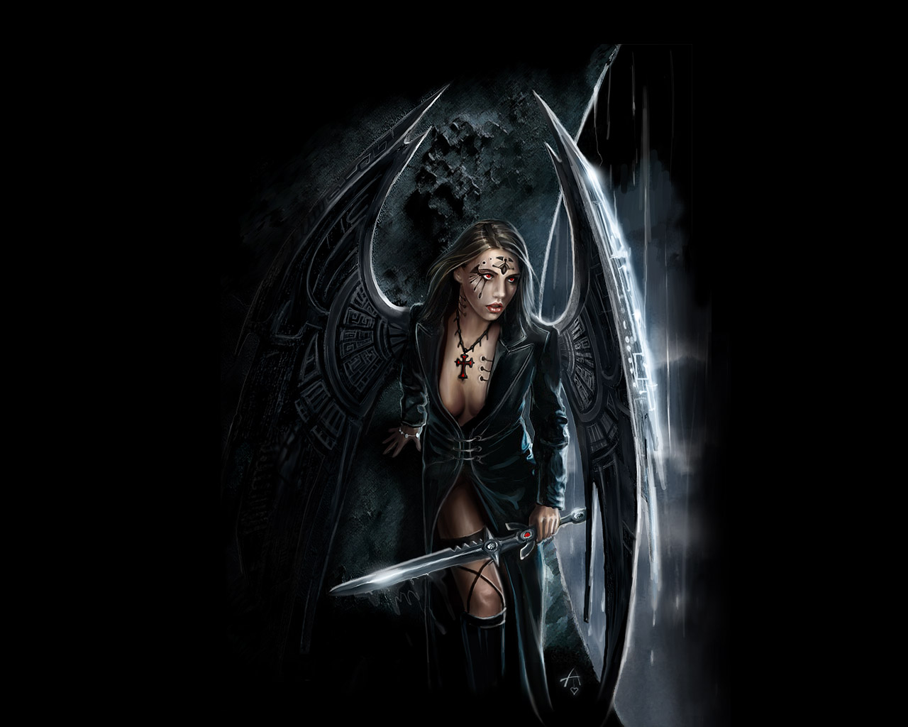 the angel of war with steel wings angels and demons wallpaper 1280x1024