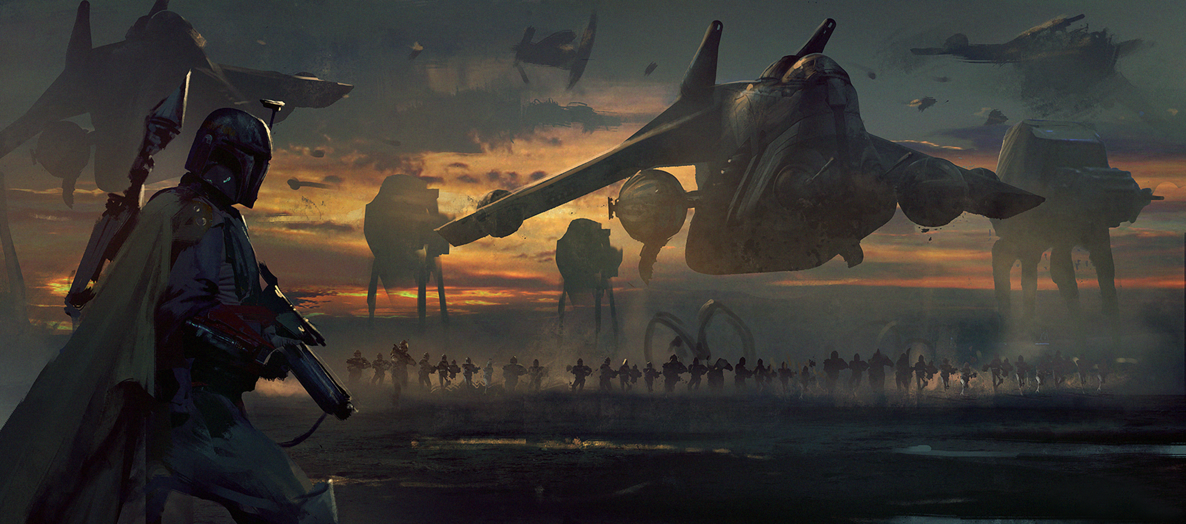 Boba fett Wallpaper star wars art imperial march   HD Wallpapers 2445x1080