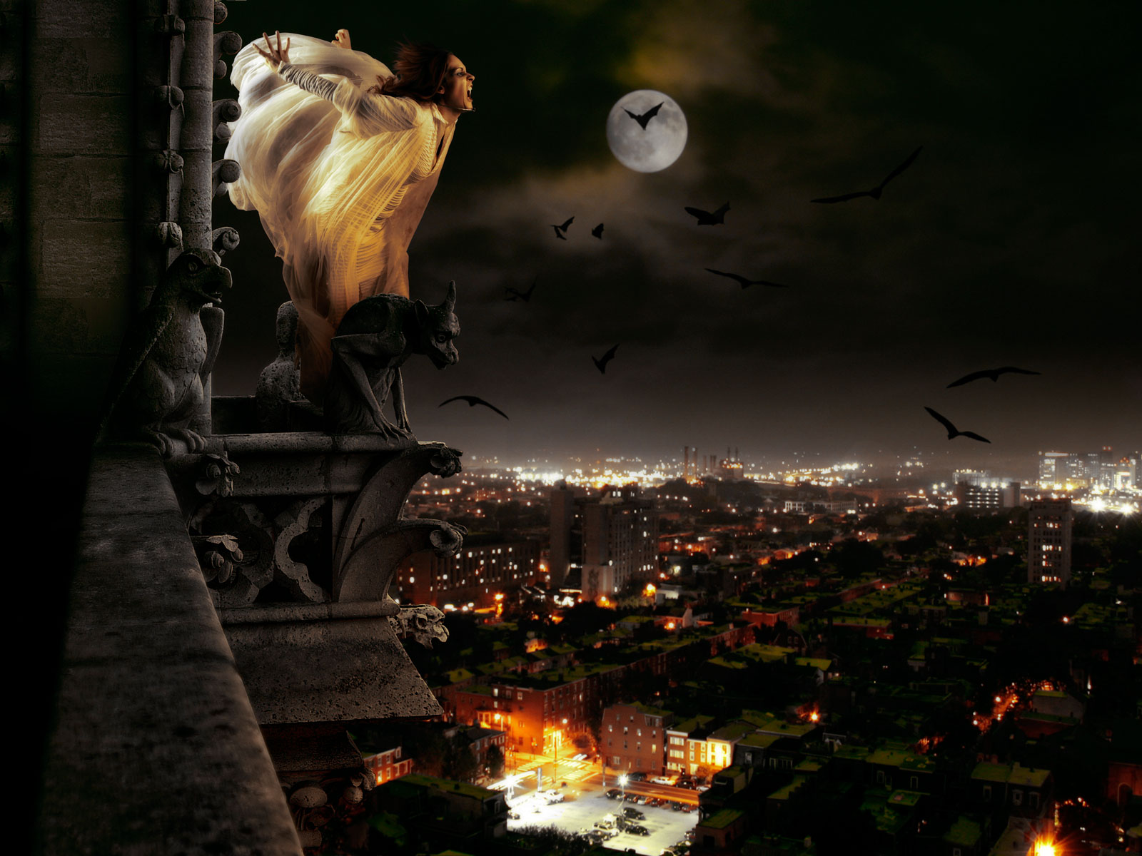 Dark horror gothic vampire women evil cities night 1600x1200