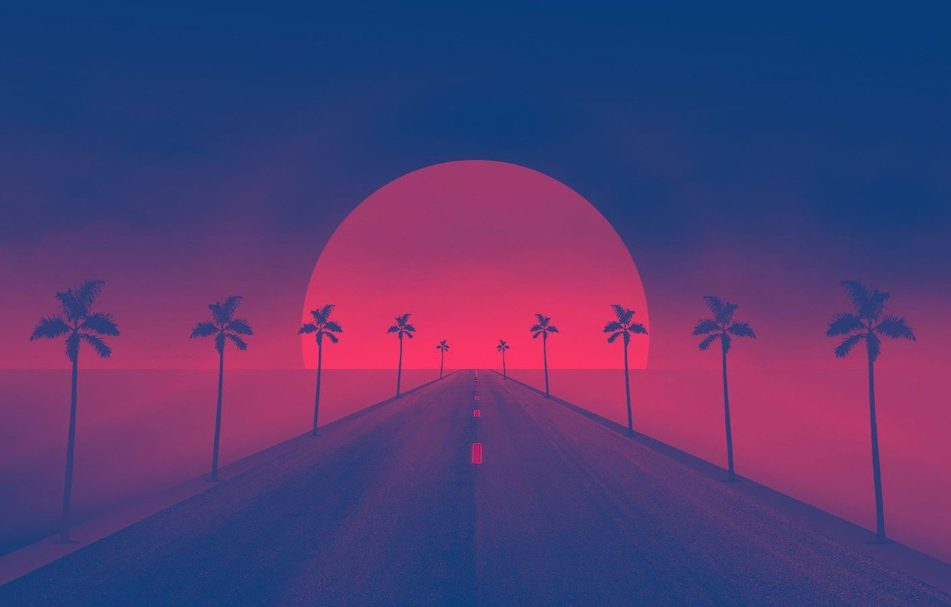 Wallpaper Sunset The sun Road Palm trees Synthpop Darkwave 1332x850