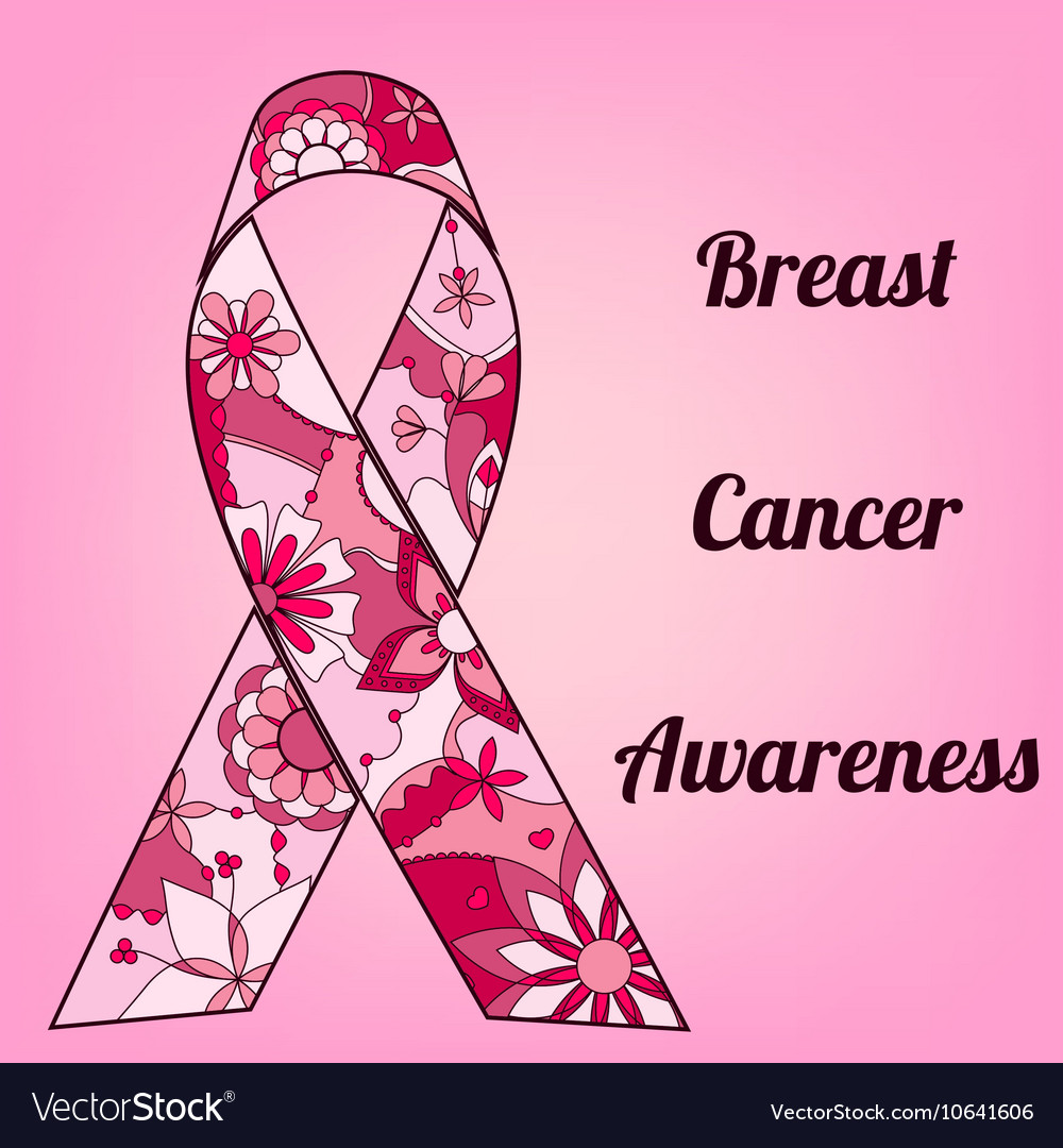 Breast cancer awareness background with painted Vector Image 1000x1080