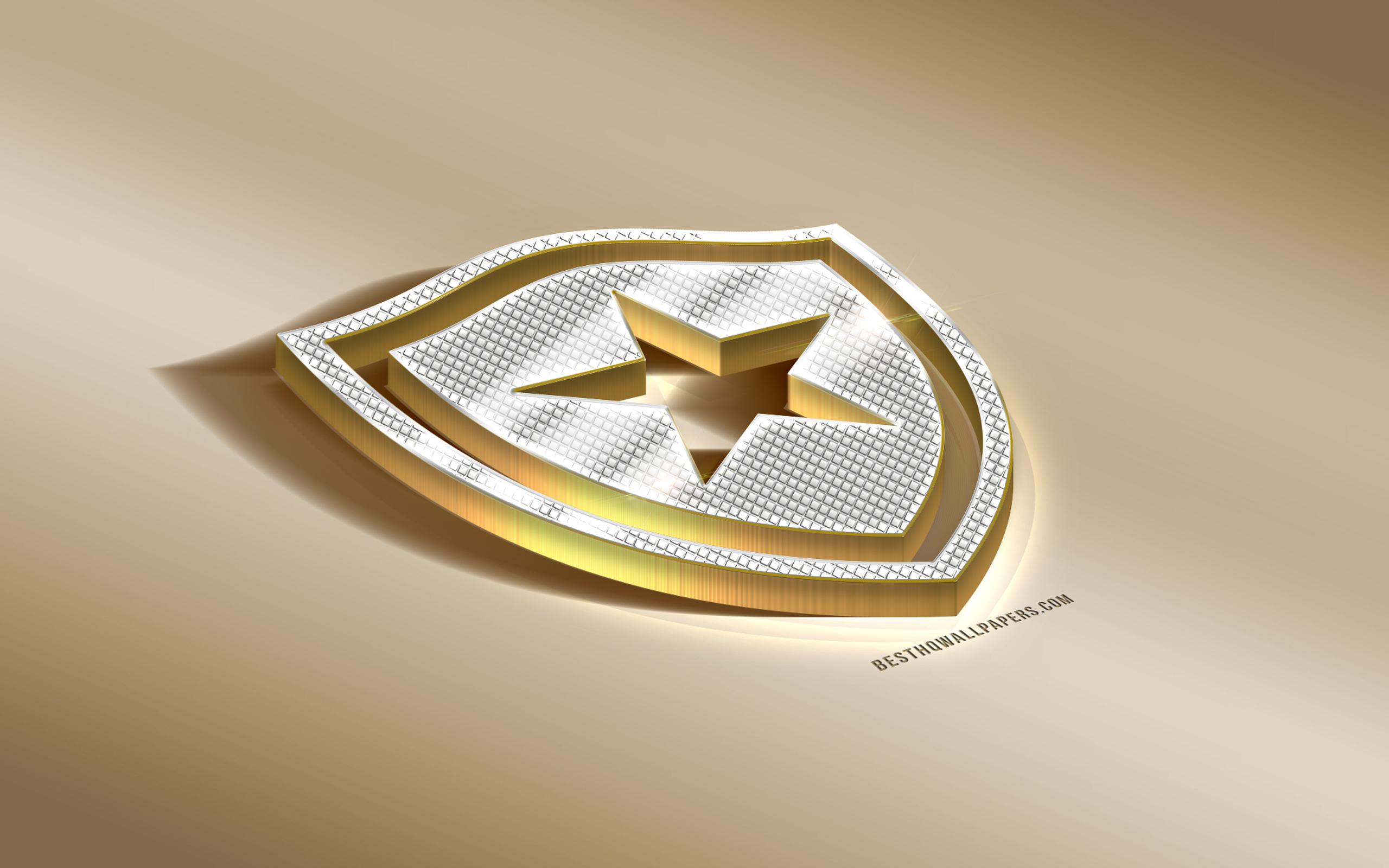 Download wallpapers Botafogo Brazilian football club golden logo 2560x1600