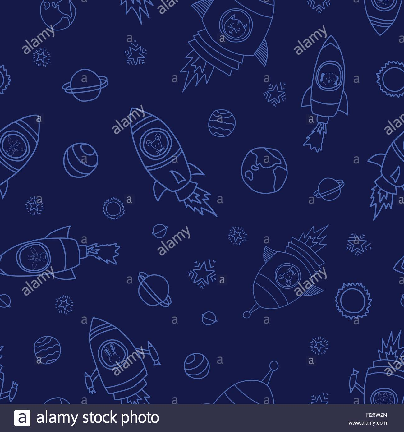 Astronaut space animals on blue seamless vector background Rocket 1300x1390