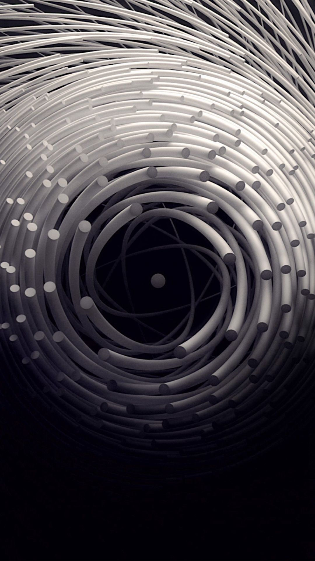 Free download Circle 3D Dark Abstact Iillustration Art iPhone 8