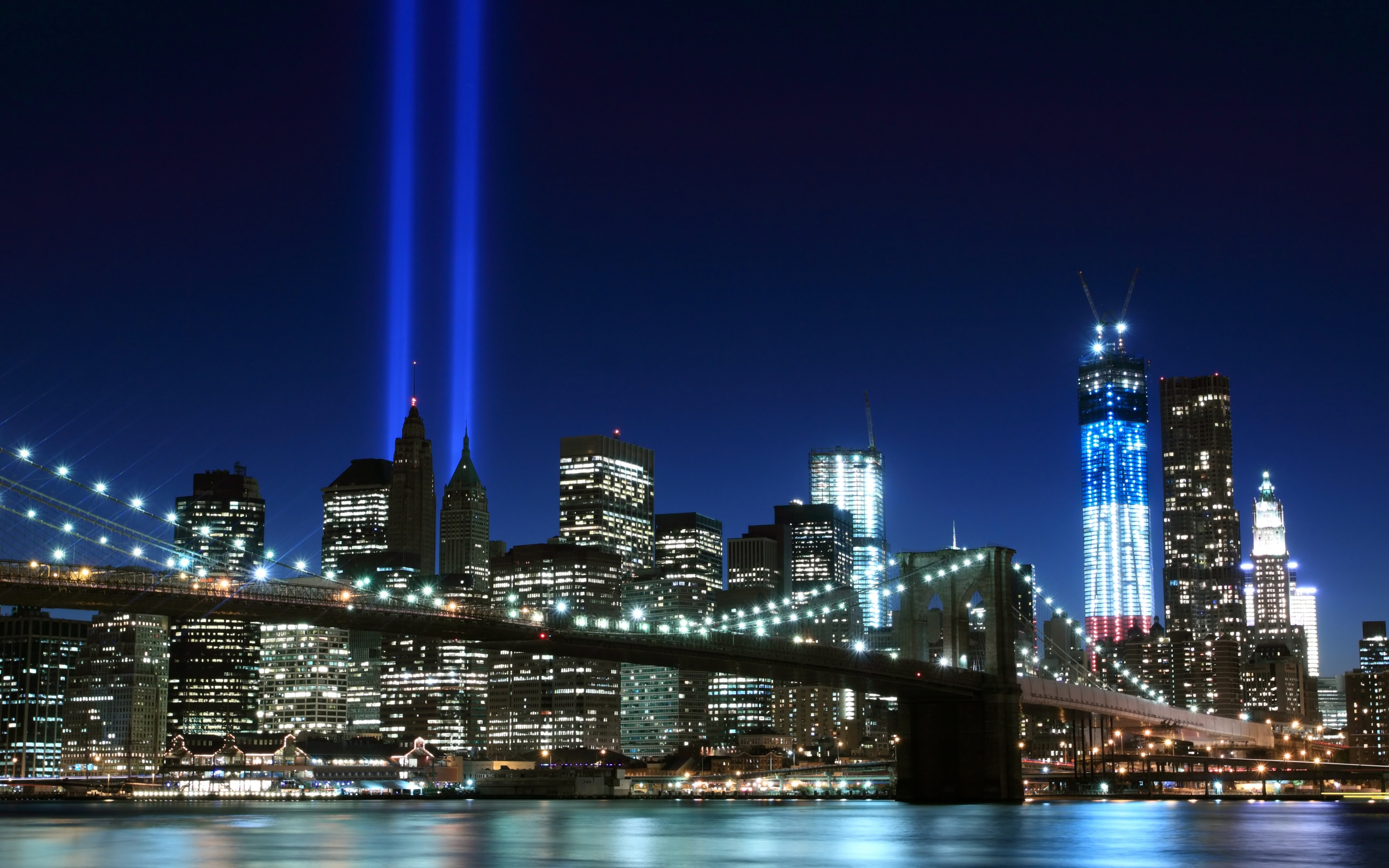 New York City brooklyn bridge Night lights USA America HD Desktop 3840x2400