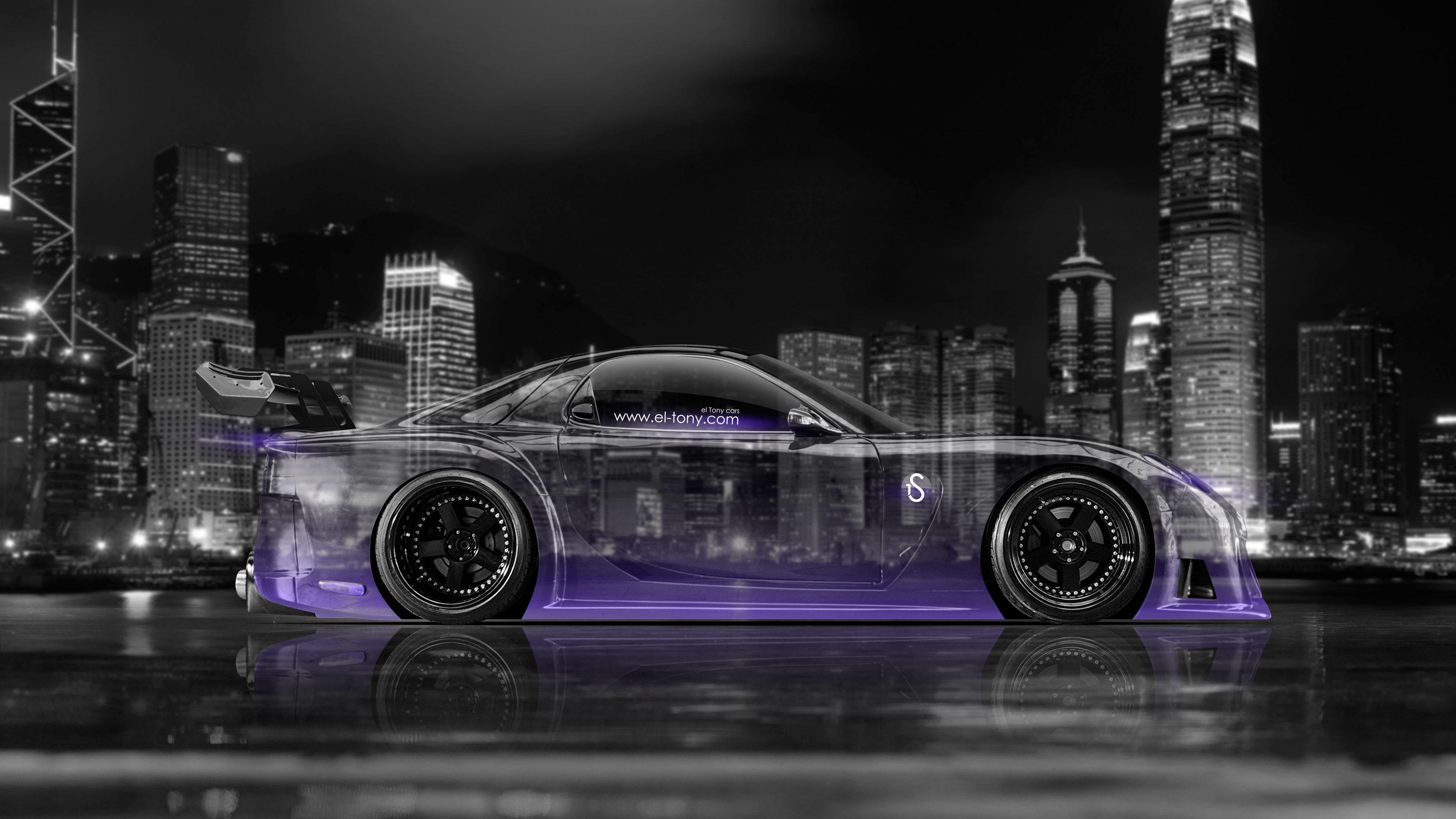 Car 2014 Art Violet Neon 4K Wallpapers design by Tony Kokhan [wwwel 3840x2160