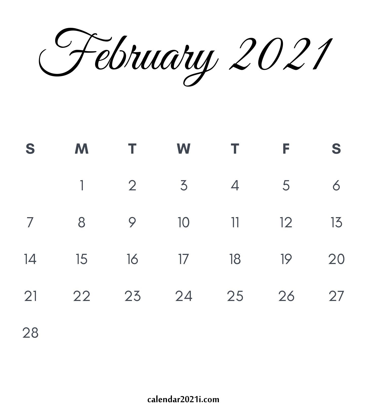 February 2021 Calendar Printable Floral Holidays Wallpaper
