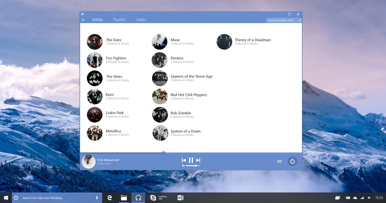 Windows 10 Redstone Groove Music by lukeled 1231x649