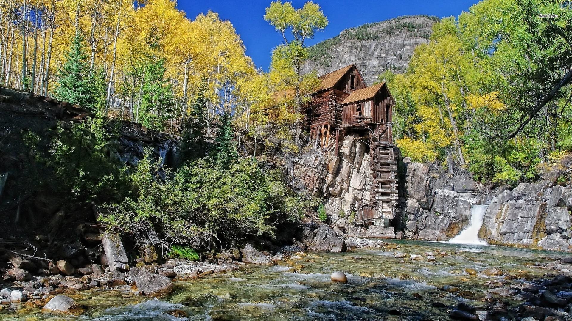 Riverside mountain cabin wallpaper   World wallpapers   16753 1920x1080