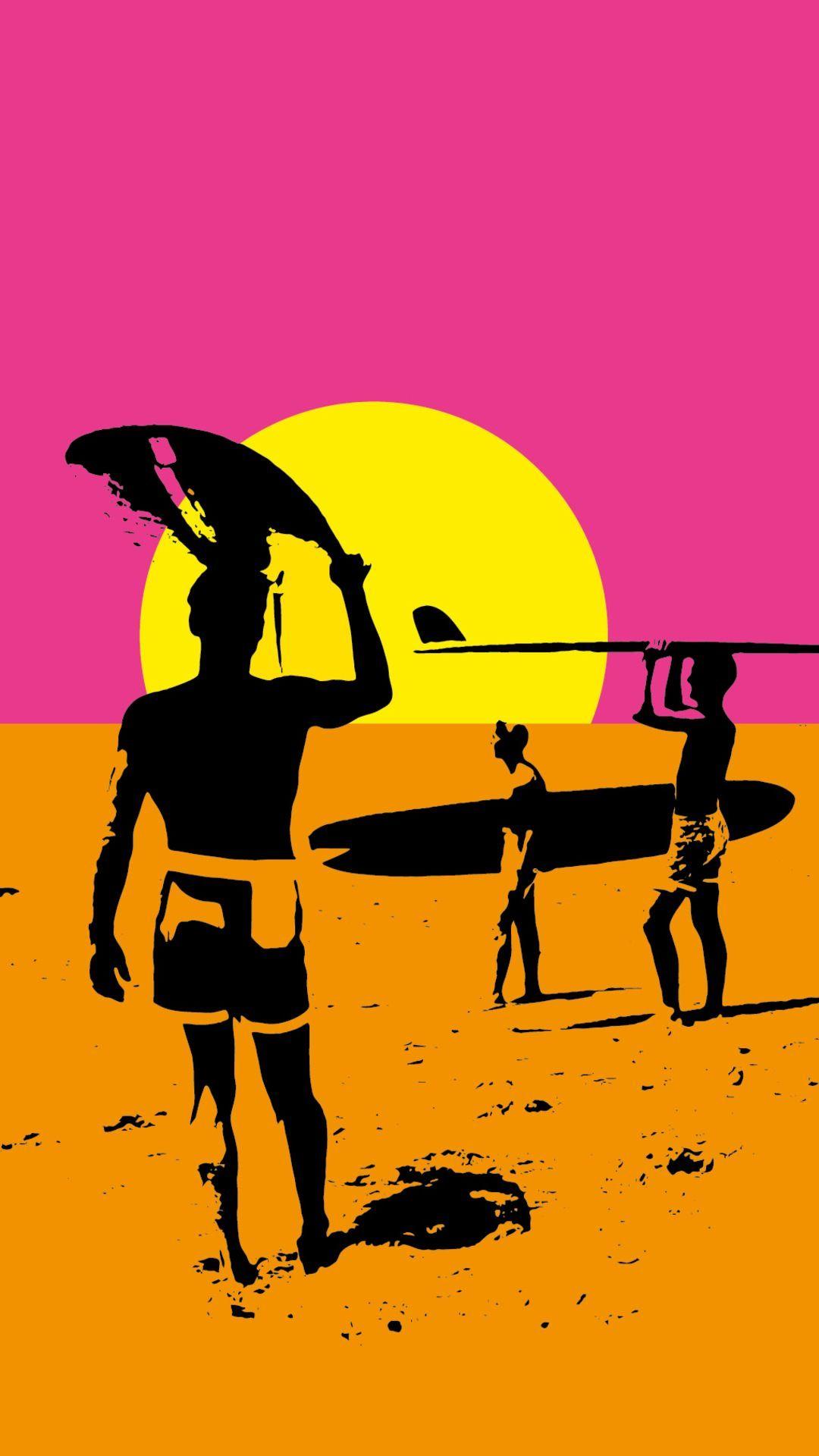 Surfing iPhone Wallpaper Surfing wallpaper Retro surf Surf art 1080x1920