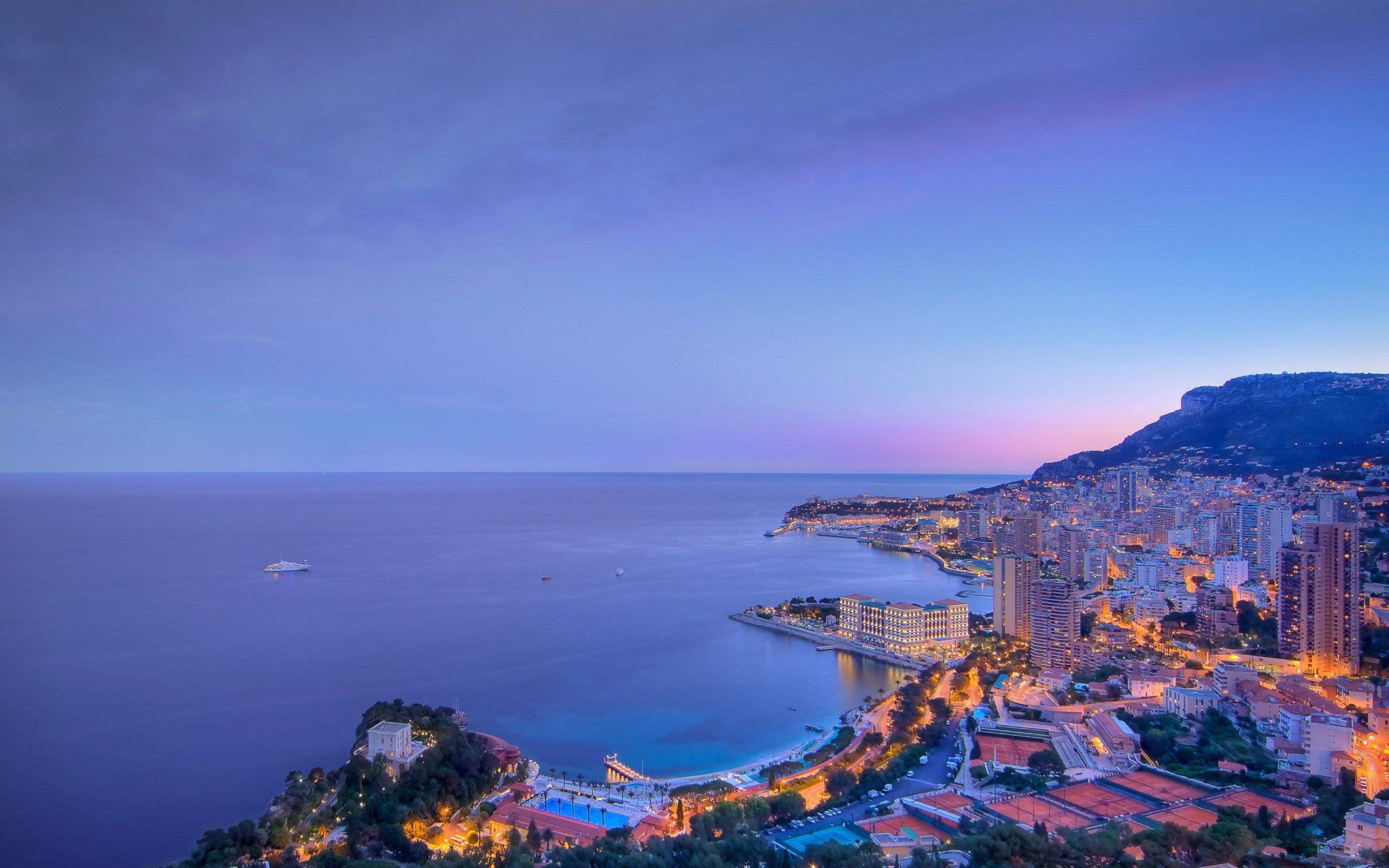Monaco in Twilight HD wallpaper 2560x1600