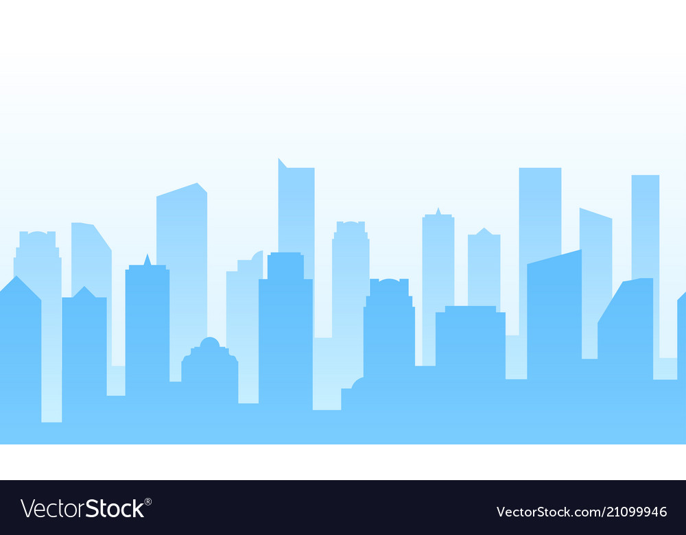 Background with city for web site footer or Vector Image 1000x780