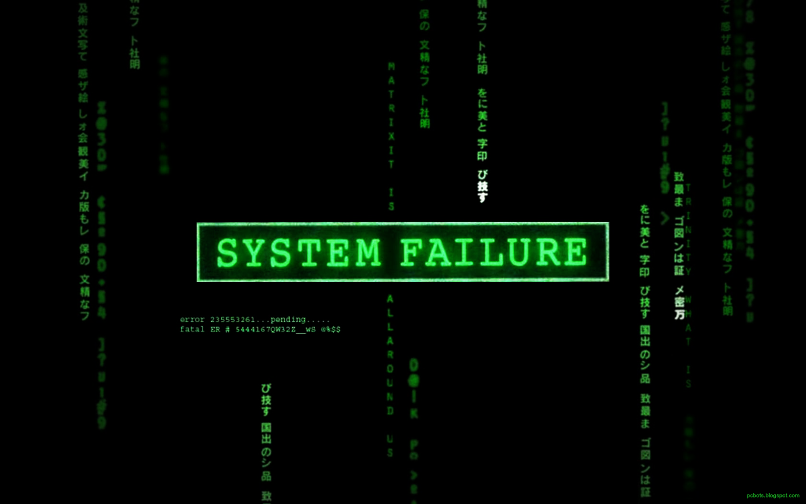 System failure green hackers Wallpaper with matrix background 1600x1000