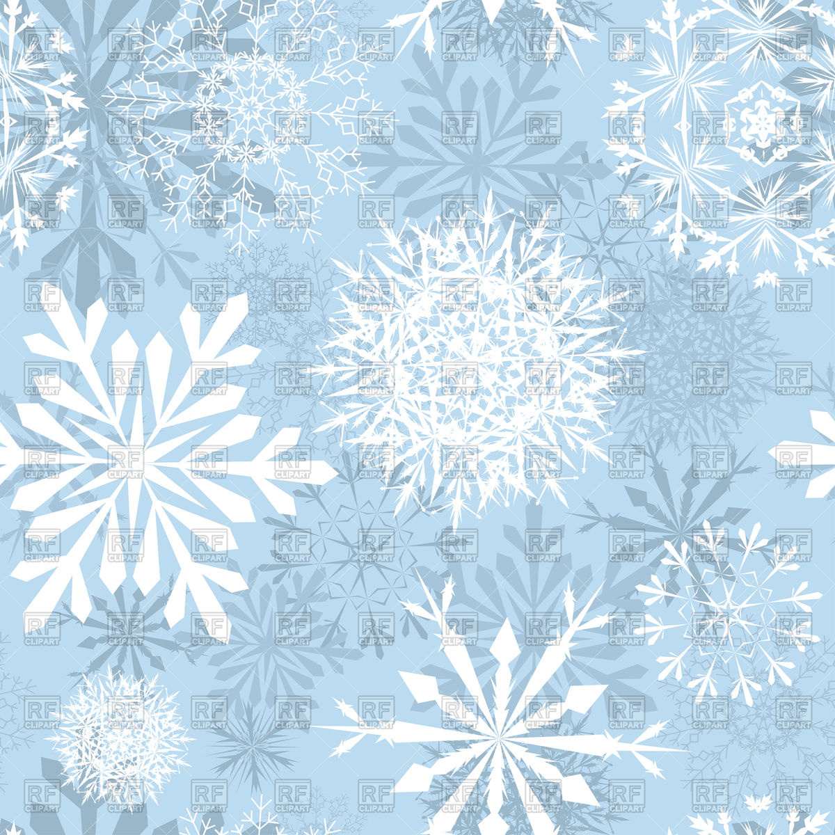 Seamless blue winter background with snowflakes Vector Image of 1200x1200