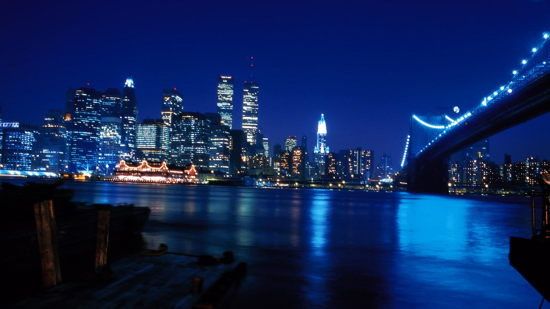Wallpaper new york river bridge night city manhattan manhattan 1920x1080