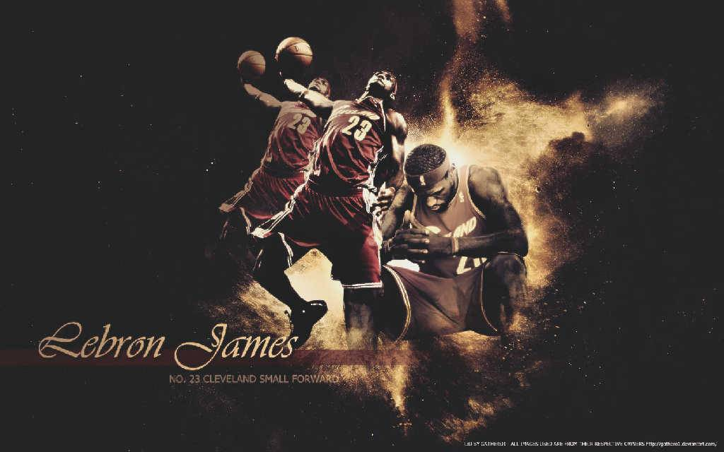 LeBron James Thinking Dunk - Cleveland Cavaliers Wallpaper