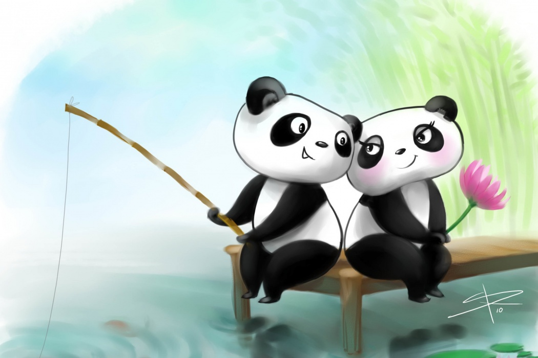 HD Animated Fishing Pandas Couple Romantic HD Photo Wallpaper images ...