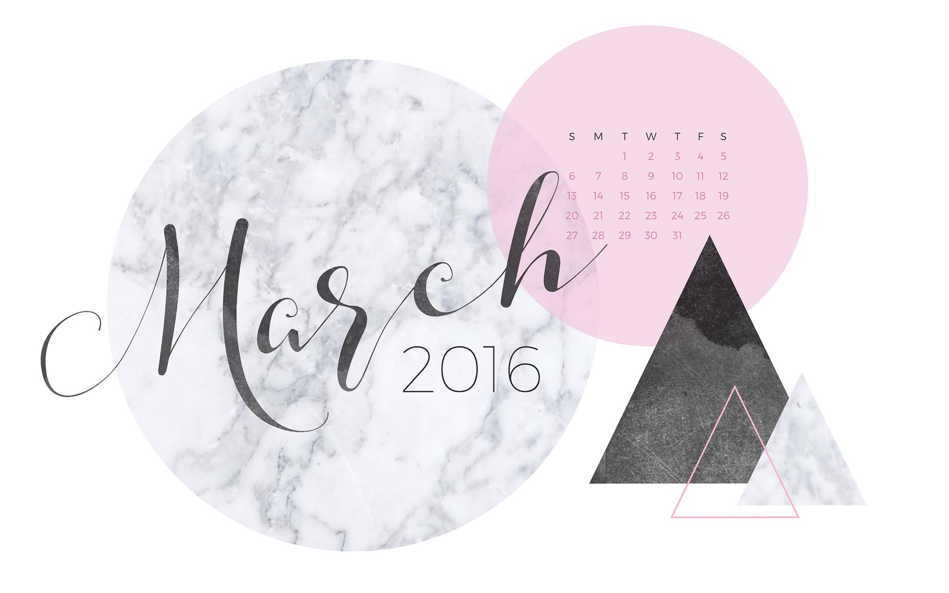 March 2016 Desktop Calendar Wallpaper Paper Leaf 1920x1200