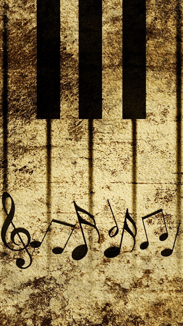 Vintage Piano Keys With Musical Notes iPhone 5 5S 5C Wallpaper 640x1136