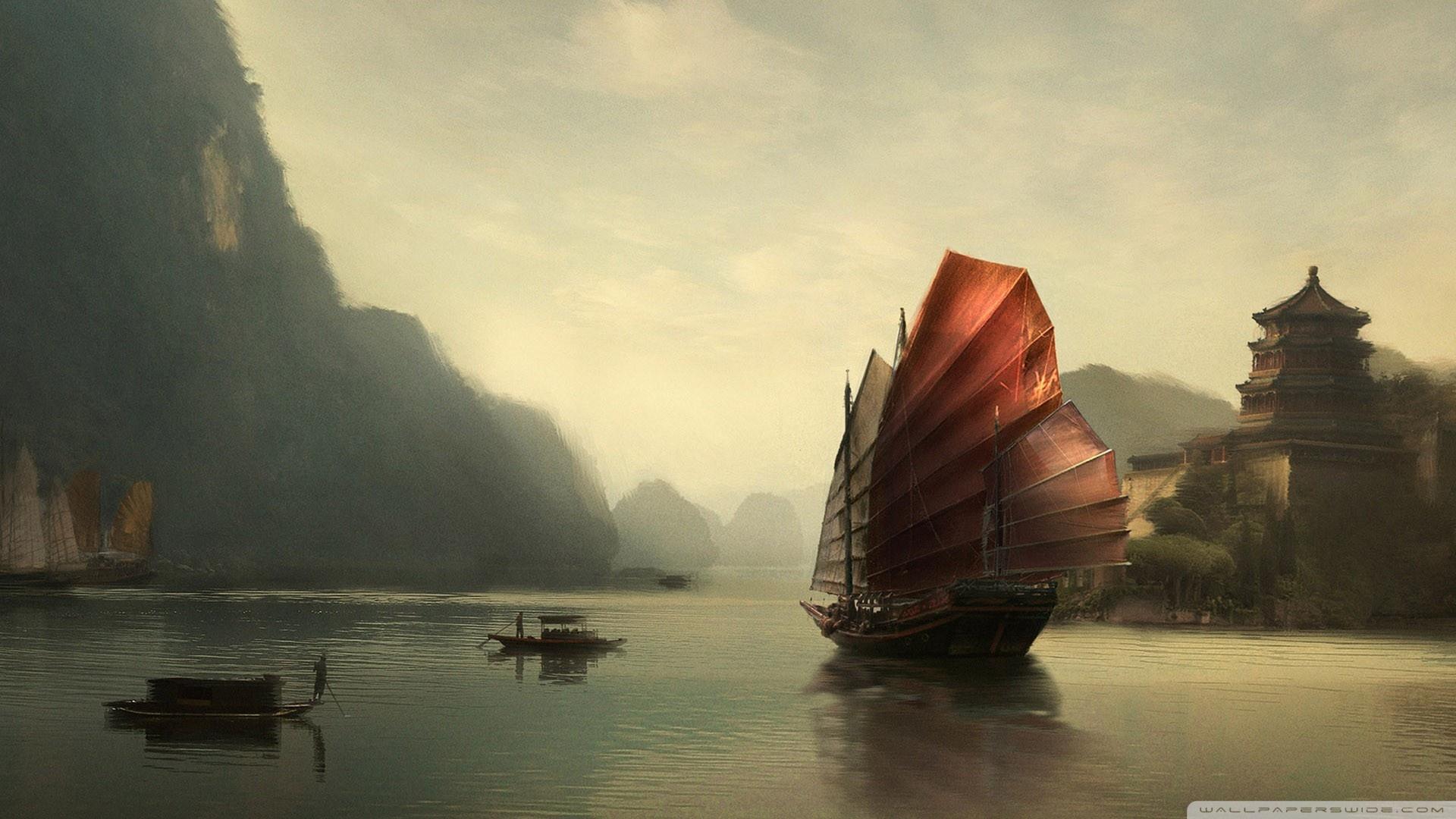 Junk Ship Chinese Painting 4K HD Desktop Wallpaper for 4K Ultra 1920x1080