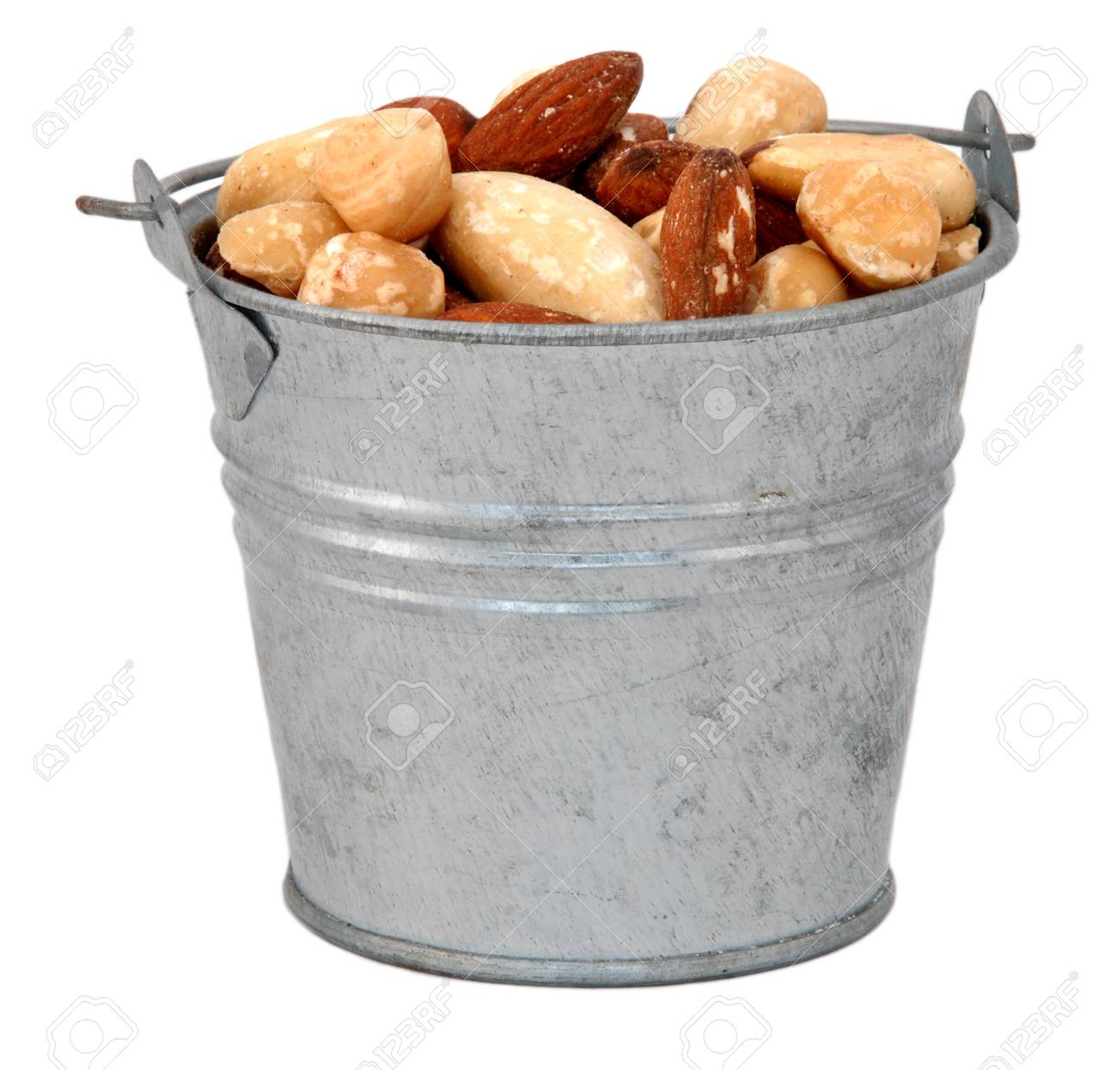 Mixed Nuts In A Miniature Metal Bucket Isolated On A White 1300x1241