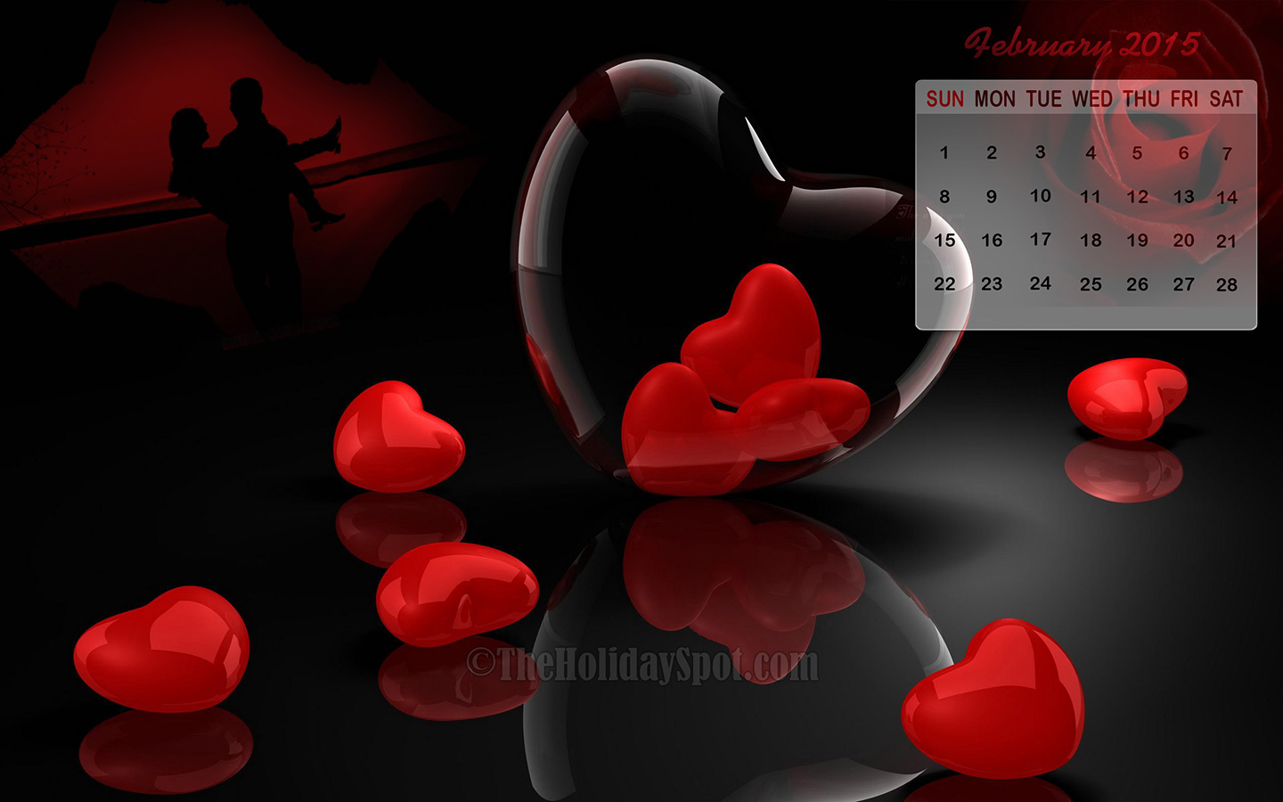 beautiful calendar wallpaper of February 2015 themed with Love 1440x900