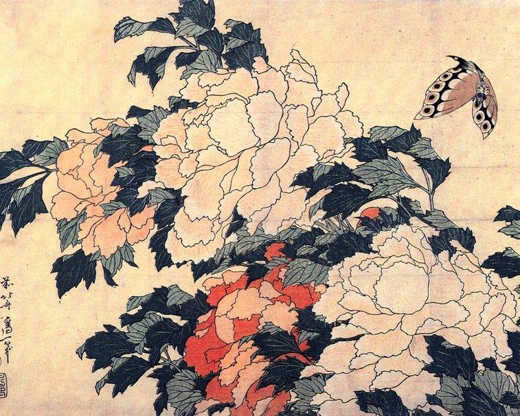 Katsushika Hokusai   pivoines et papill Wallpaper   ForWallpaper 757x606
