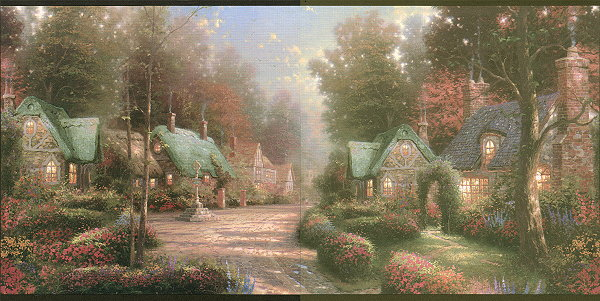 Thomas Kinkade Wallpaper Borders Village 600x301