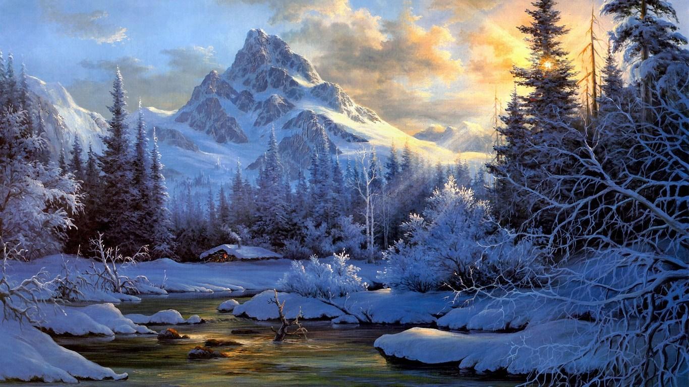 Download Wallpaper Winter mountain landscape   1366x768 1366x768