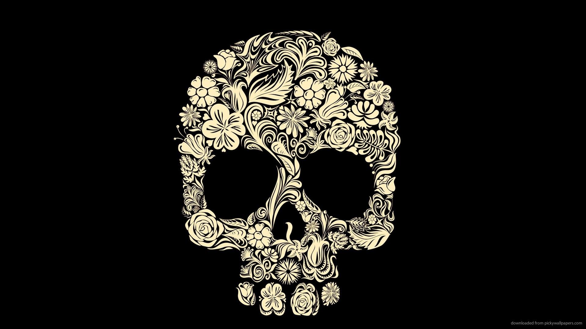 1366x768 Floristic Skull Wallpaper 1920x1080