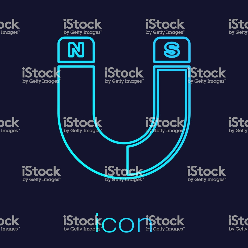 Turquoise Magnet Line Icon Isolated On Blue Background Horseshoe 1024x1024