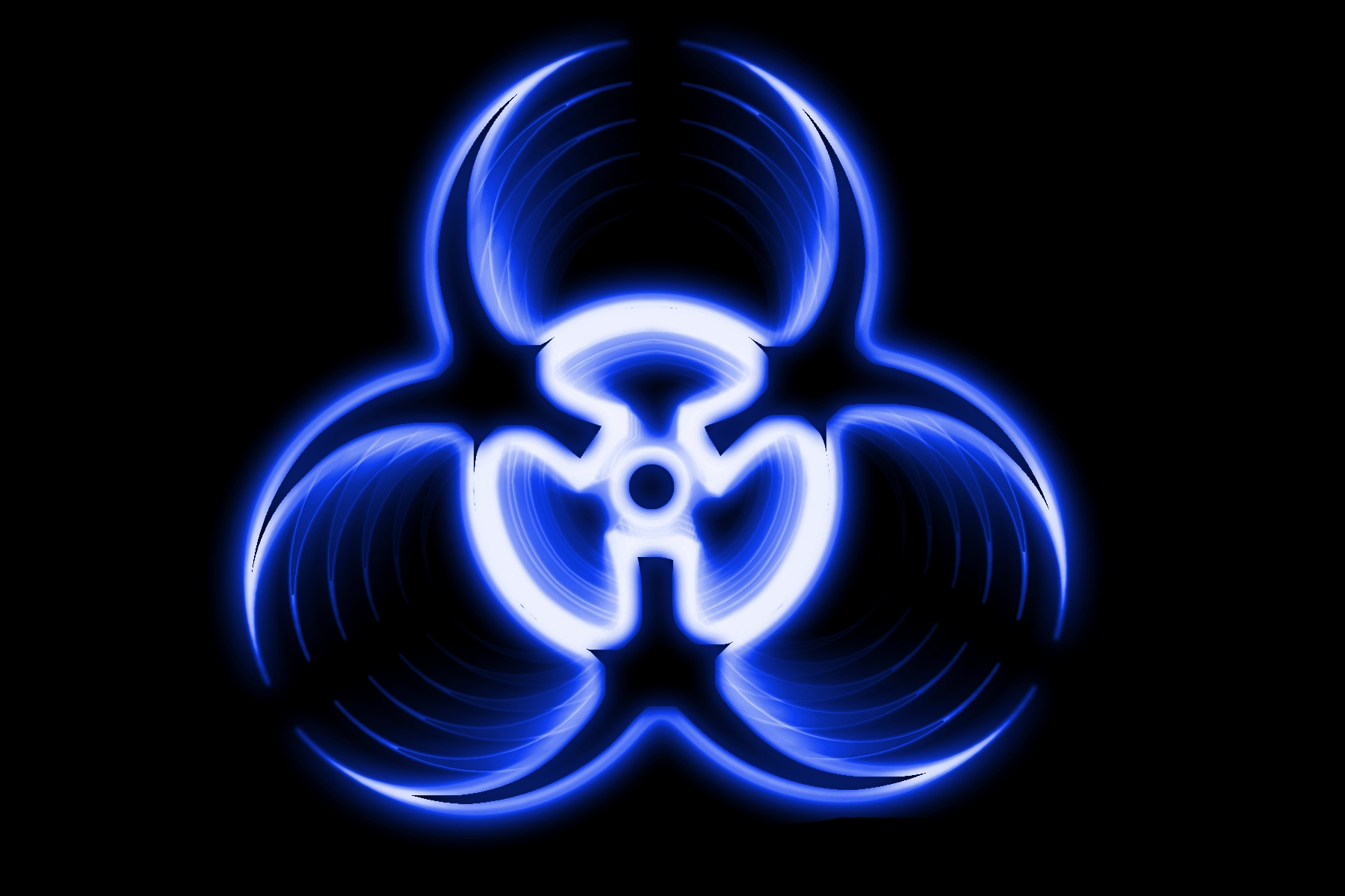 Blue Biohazard Static Logo Wallpaper Background Picture And Layout 1800x1200