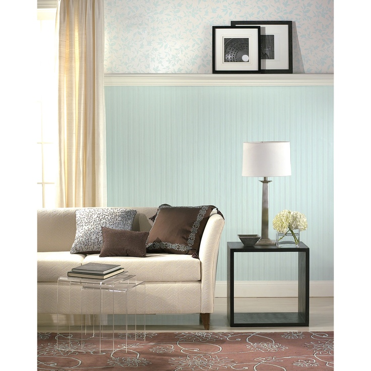 Brown Paintable Prepasted Paintable Beadboard Wallpaper in White 736x736