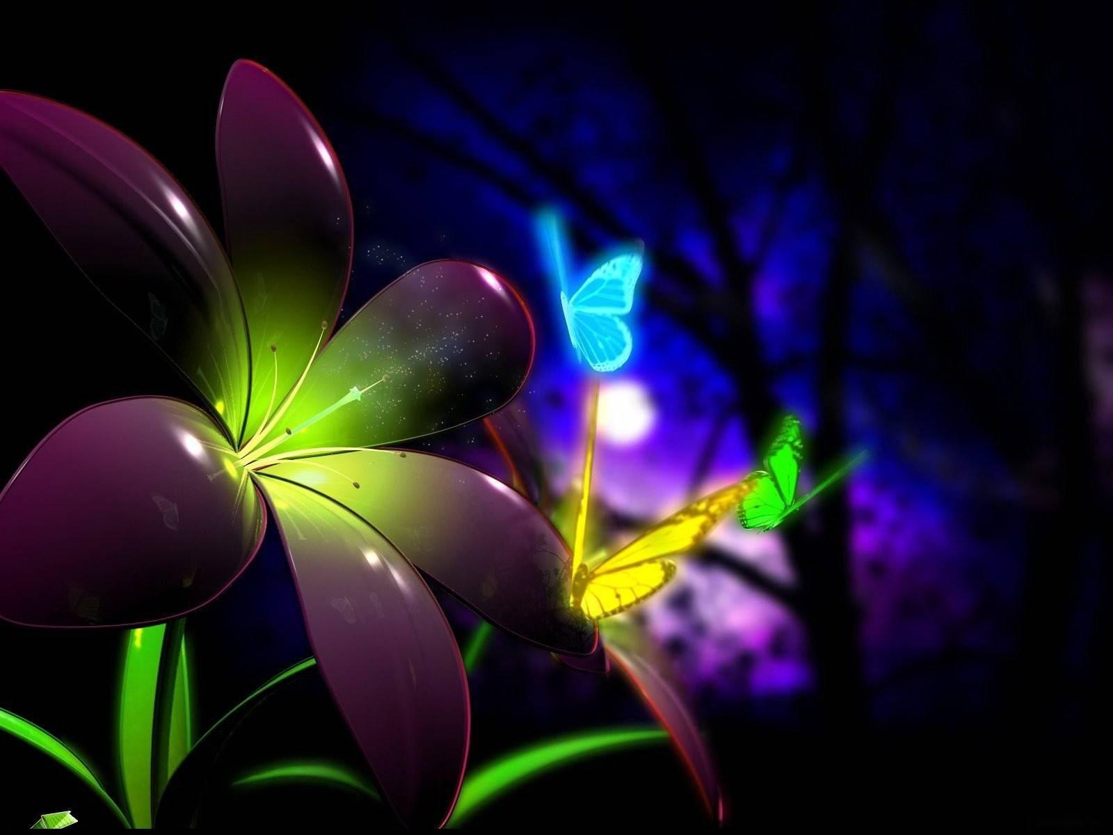 cool neon butterflies   butterflies Wallpaper 1600x1200