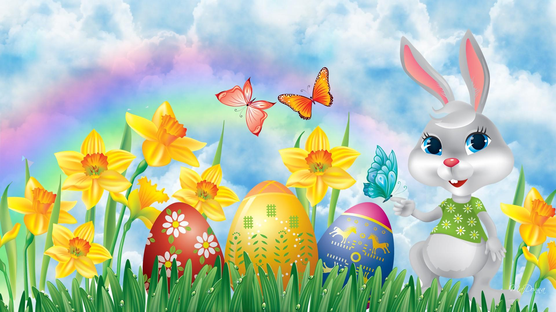 Easter Bunny Easter Eggs and Daffodils Full HD Wallpaper 1920x1080