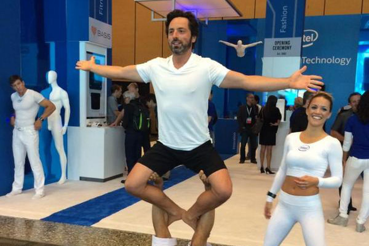 This photo of Sergey Brin doing yoga at Intels conference is not 1200x800