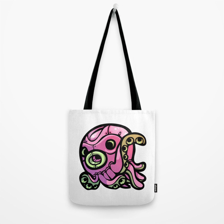 Pink Gorilla X Enfu Octopus Mech Tote Bag by pinkgorilla Society6 1500x1500