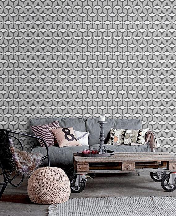 Peel and stick self adhesive vinyl Wallpaper by PatPrintbyAmy 570x697