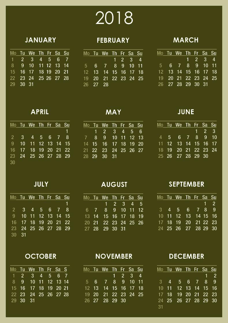 Download calendar 2018   2018 Calendar printable for 790x1120