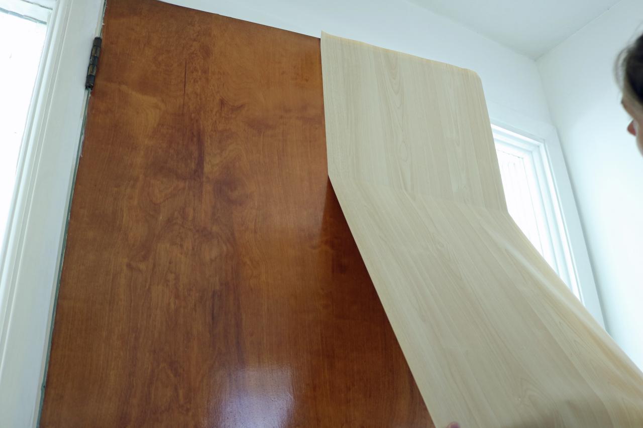 Update an Interior Door With Vinyl Adhesive Wallpaper how tos DIY 1280x853