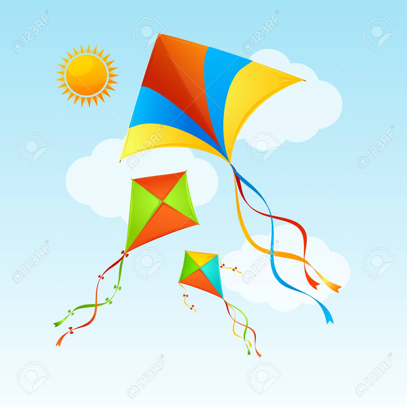 Flying Kite And Clouds On A Blue Sky Summer Concept Background 1299x1300